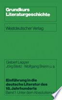 Einf  hrung in die deutsche Literatur des 18  Jahrhunderts
