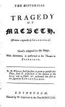 The Historical Tragedy of Macbeth