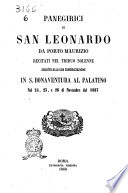 Panegirici di San Leonardo da Porto Maurizio recitati nel triduo solenne seguito alla sua canonizzazione in S  Bonaventura al Palatino nel 24  25 e 26 di novembre del 1867