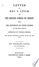 Letter To Rev J Litch On The Second Coming Of Christ book
