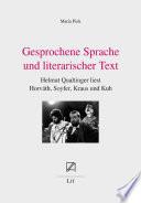 Gesprochene Sprache und literarischer Text