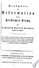 Denkmaler der Reformation der Christlichen kirche