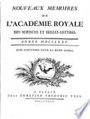 Nouveaux memoires de l Academie Royale des Sciences et Belles Lettres