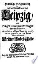 Historische Beschreibung der weltberühmten Universität Leipzig