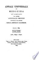 Annali di medicina straniera  compilati da A nnibale  Omodei