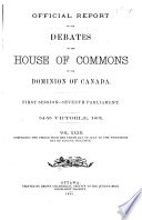 Official Reports of the Debates of the House of Commons of the Dominion of Canada