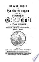 Der Schweitzerischen Gesellschaft in Bern Sammlungen von Landwirthschaftlichen Dingen
