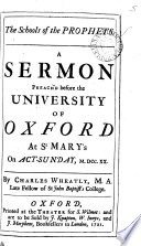 The schools of the prophets, a sermon
