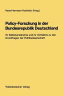 Policy Forschung in der Bundesrepublik Deutschland