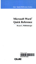 Microsoft Word Quick Reference
