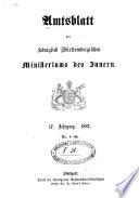Amtsblatt des Königlichen Württembergischen Ministeriums des Innern