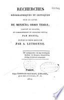 Recherches géographiques et critiques sur le livre De mensura orbis terrae...