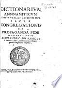 Dictionarium Annnamiticum [sic] Lusitanum, et Latinum