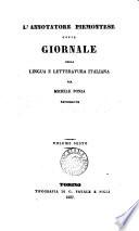 l'annotatore piemontese ossia giornale della lingua e letteratura italiana fer michele ponza sacerdote