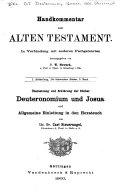Übersetzung und Erklärung der Bücher Deuteronomium und Josua