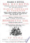 Esame e difesa del decreto pubblicato in Pudisceri da Monsignor Carlo Tommaso di Tournon, Patriarca d'Antiochia, ...