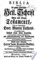 Biblia     nach der Uebersetzung     M  Luthers    Nebst einer Vorrede     J  F  Buddei  etc