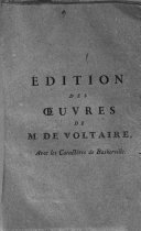 dition des oeuvres de M  De Voltaire avec les caract   res de Baskerville