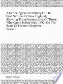 A Genealogical Dictionary Of The First Settlers Of New England  Showing Three Generations Of Those Who Came Before May  1692  On The Basis Of Farmer s Register
