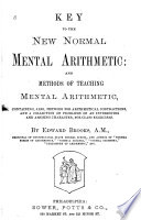 Key to the New normal mental arithmetic  and  Methods of teaching mental arithmetic