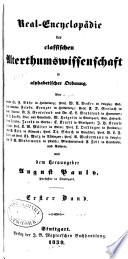 Real-Encyclopädie der classischen Alterthumswissenschaft in alphabetischer Ordnung
