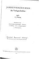 Jahresverzeichnis der Verlagsschriften und einer Auswahl der Ausserhalb des Buchhandels erschienenen Ver  ffentlichungen der DDR  der BDR und Westberlins sowie der deutschsprachigen Werke Anderer L  nder
