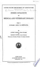 Index catalogue of Medical and Veterinary Zoology Book PDF