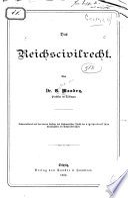 Das Reichscivilrecht