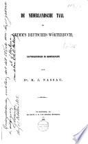 De Nederlandsche taal en Grimm's Deutsches Wörterbuch