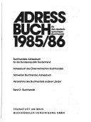 Adressbuch für den deutschsprachigen Buchhandel