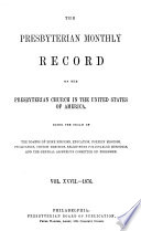 Presbyterian Monthly Record of the Presbyterian Church in the United States of America