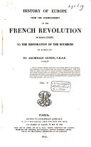 download ebook history of europe from the commencement of the french revolution in 1789 to the restauration of the bourbons in 1815 pdf epub