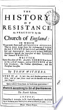 The History of Resistance  as Practis d by the Church of England