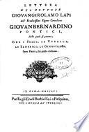 Lettera del dottore Giovangirolamo Lapi all'eruditissimo signor cavaliere Giovanbernardino Pontici, nella quale si pruova, che i salci, le vetrici, le tamerici, le ginestre &c. sono piante, che presto crescono