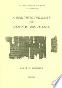 A Berichtigungsliste of Demotic Documents  Papyrus editions