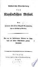 Aesthetische Beschreibung des Klopstockischen Meßias