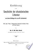Einführung in die Geschichte der altcatalanischen Litteratur von deren Anfängen bis zum 18. Jahrhundert
