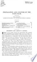 Propagation and culture of the date palm