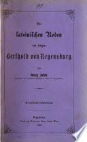 Die lateinischen Reden des seligen Berthold von Regensburg