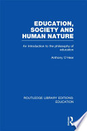 Education  Society and Human Nature  RLE Edu K