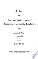 Syllabi for the Academic Years