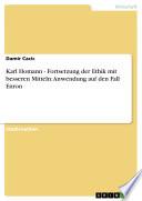 Karl Homann   Fortsetzung der Ethik mit besseren Mitteln  Anwendung auf den Fall Enron
