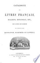 Catalogue des livres Fran  ais  Italiens  Espagnols  etc