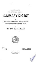 Summary Digest Of Statutes Enacted And Resolutions Including Proposed Constitutional Amendments Adopted In And Statutory Record book