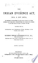 The Indian Evidence Act  No  I of 1872