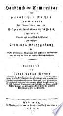 Handbuch oder Comentar des peinlichen Rechts
