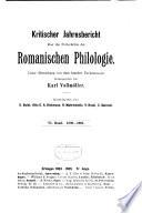 Kritischer Jahresbericht   ber die Fortschritte der romanischen Philologie