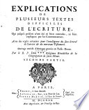 Explications de plusieurs textes difficiles de l ecriture