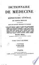 Dictionaire de medicine  ou R  pertoire g  n  ral des sciences medicales consid  r  es sous le raaport theorique