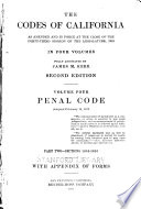 The Codes of California  pt  1 2  Penal code